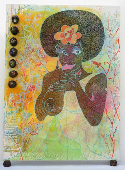 painting b chris ofili entitled Blossom