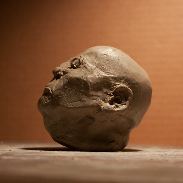 clay sculpture head study by ellen scobie, vancouver sculpture studio