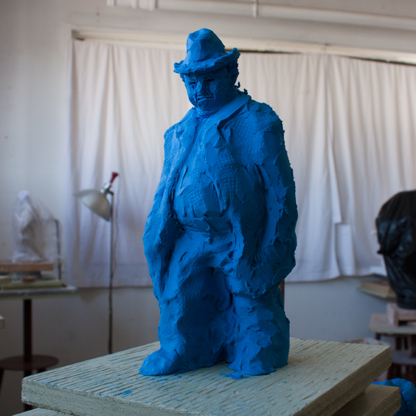 small figure of old man modelled in clay by Ellen Scobie, Vancouver artist