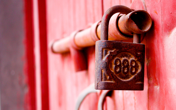 lucky-888 lock on red door in china