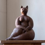 Sitting cat contemporary sculpture