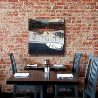 abstract photography on canvas, cafe brick wall