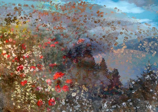 mixed media artwork of spring flowers in a meadow with view of lake and mountains, mostly blue with some red and yellow