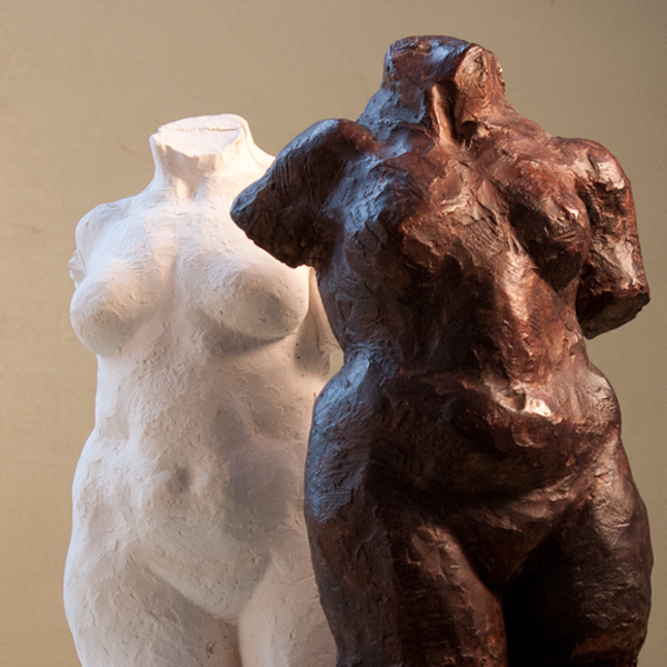 female nude torso - plaster sculpture by geemon xin meng and ellen scobie, vancouver sculpture studio