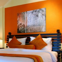 On Wednesday it Rained, Mixed media (inkjet and acrylic) on canvas, orange bedroom, art for bedroom