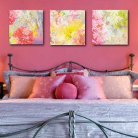 bright floral abstract art on canvas, pink, yellow, red, fushcia, green, zzinnia, diasy, bedroom art