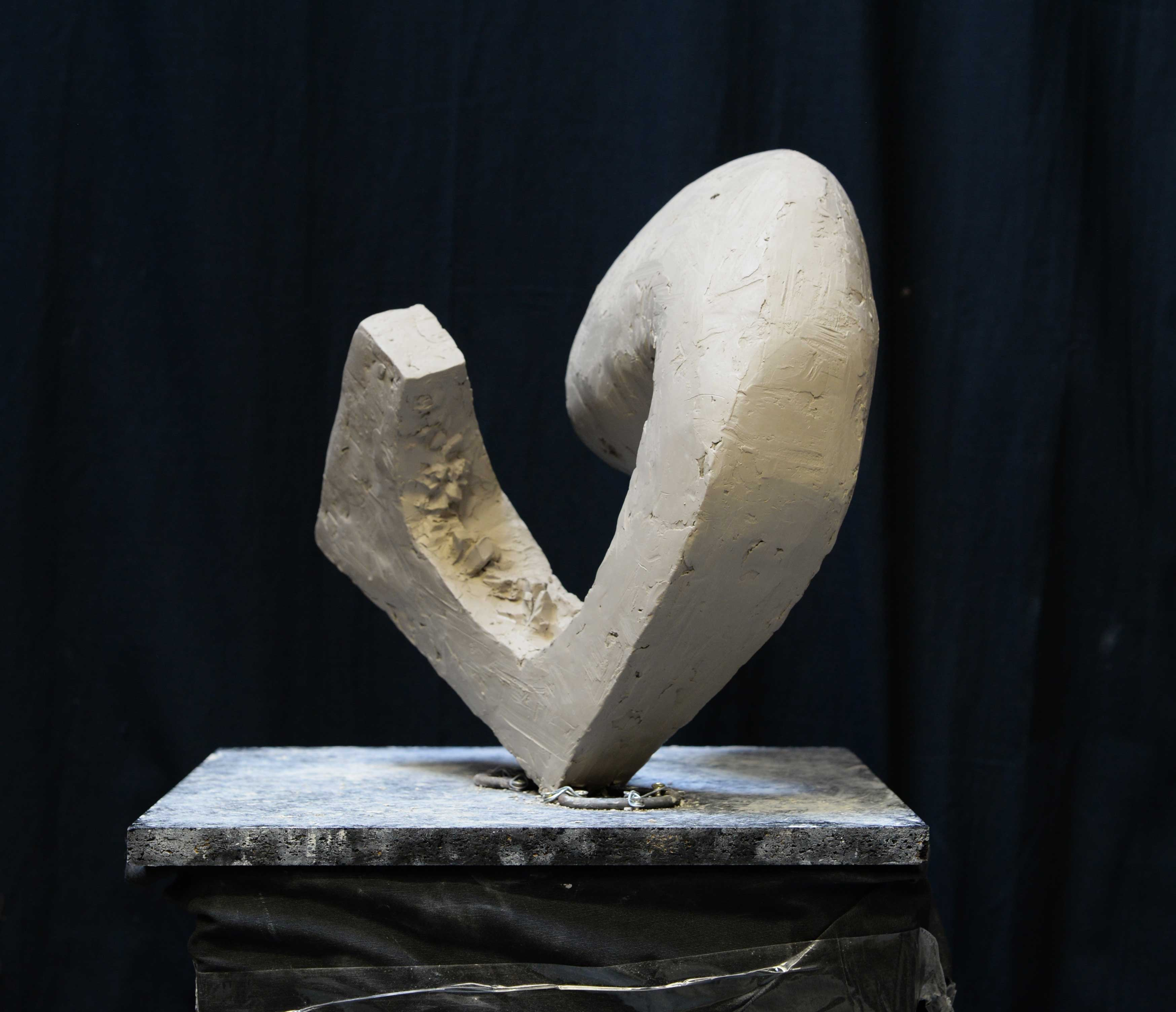 abstract sculpture in clay in studio