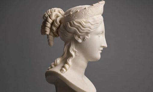 white marble bust of idealized head by Antonio Canova
