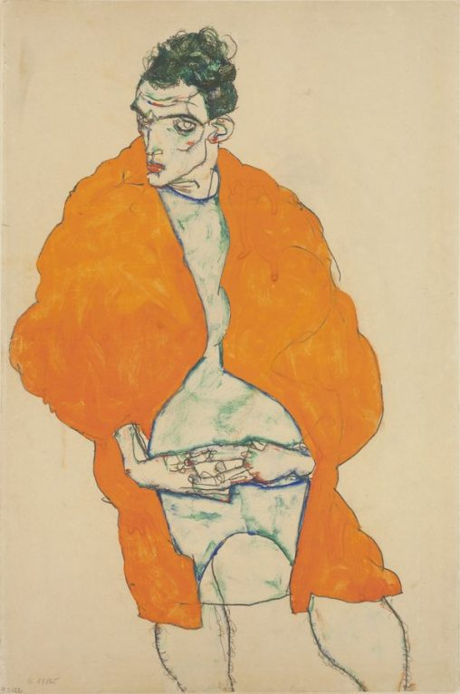Drawing of man in bright orange coat by Egon Schiele