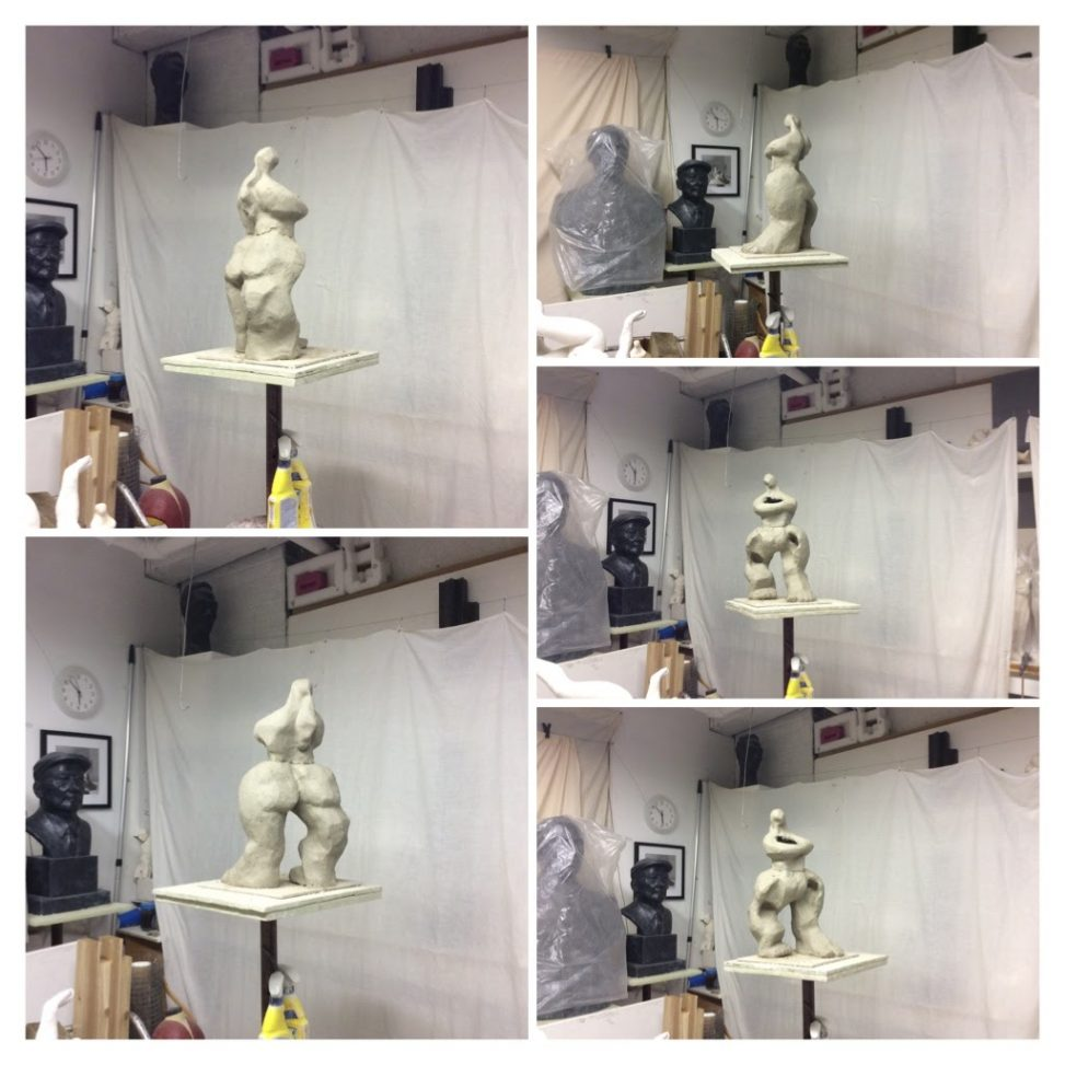 Photos of figurative sculpture in artist studio