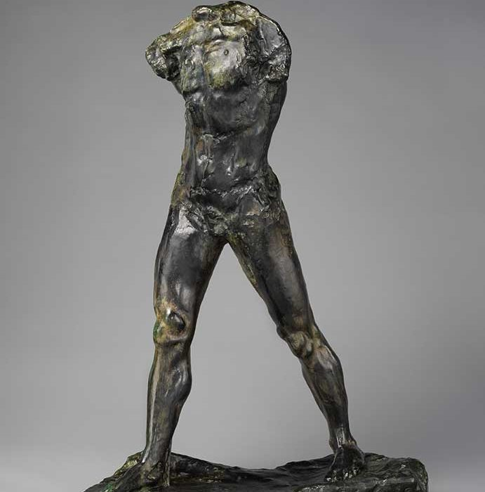 bronze sculpture of walking man figure by sculptor Auguste Rodin